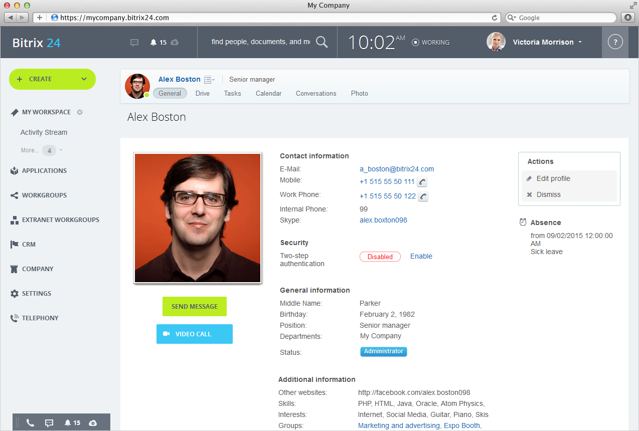 Bitrix24 Searchable Employee Directory In Bitrix24 – Employee Profile